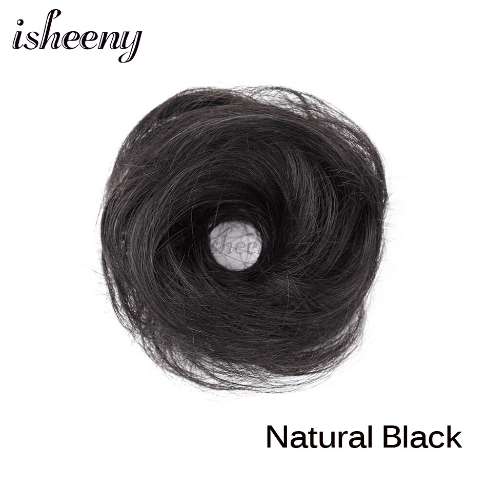 Isheeny European Human Hair Remy Rubber Band Chignon 17g Black Brown Natural Dount Chignon 4 Colors Human Hair Pure Color