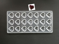 1PC 21 cavities heart shaped Hard Polycarbonate Chocolate Mould PC Candy Pasta Tool Injection PC Cake Mold