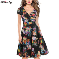 Oxiuly Women Bamboo Leaf Floral Print Ruffle V Neck Dress Short Sleeve Knee Length Dresses Ladies