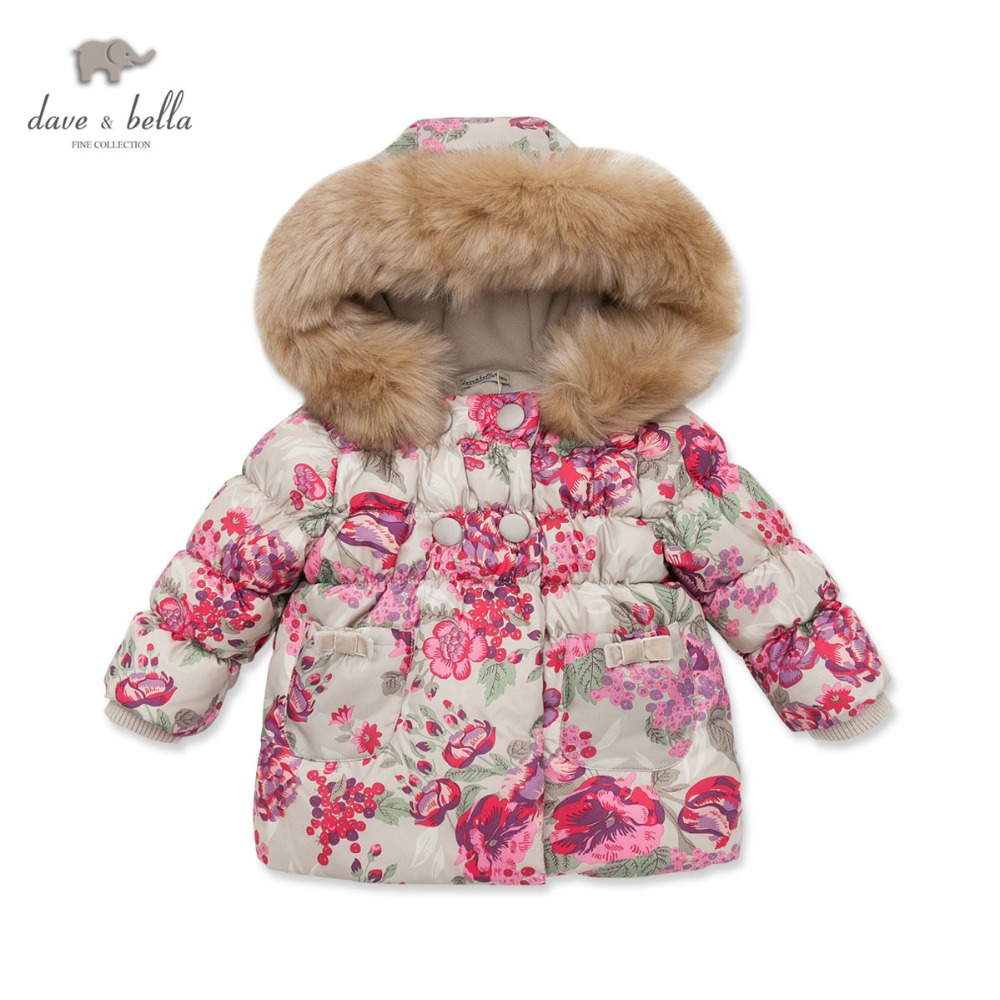 где купить DB3025 davebella  autumn winter infant coat baby padded jacket girls padded outerwear girls coat дешево