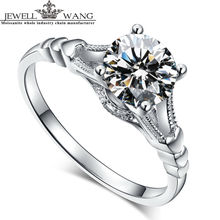 Jewellwang Original 1.0ct Certified Moissanites Engagement Rings For Women 18k Real White Gold Wedding Ring Fine Jewelry Lover