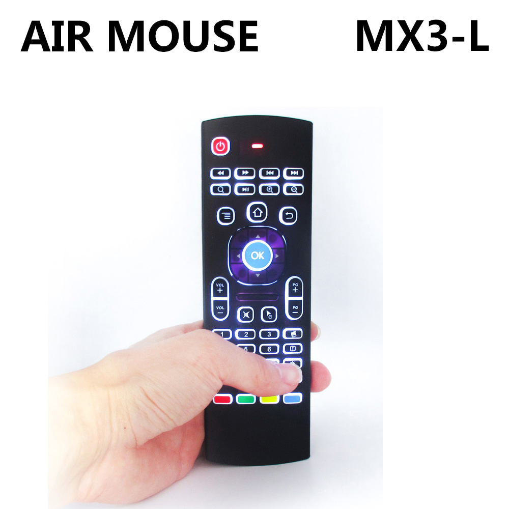 New MX3-L Backlight Air mouse Remote Control MX3 with 2.4G RF Wireless Keyboard For A95X X96 H96 pro T95Z Android TV Box TX3