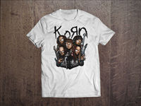 Korn Graphic Men White T Shirt Nu Metal Rock Band Fan Tee Shirt Size S 3XL