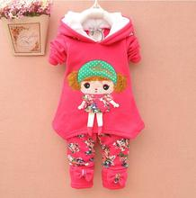 New Children Clothes Girl winter Clothing Set Cartoon flower Hoodies + Leggings 2pcs Kids Suit Thicken Add Wool Children's suit
