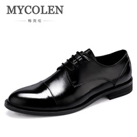 MYCOLEN Round Toe Lace Up Oxfords Genuine Men Leather Shoe Bespoke Men Shoe Handmade Dress Shoe