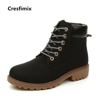 Cresfimix Girl Cool Bat Wind Pu Leather Boots Women Black Lace Up Autumn And Winter Martin