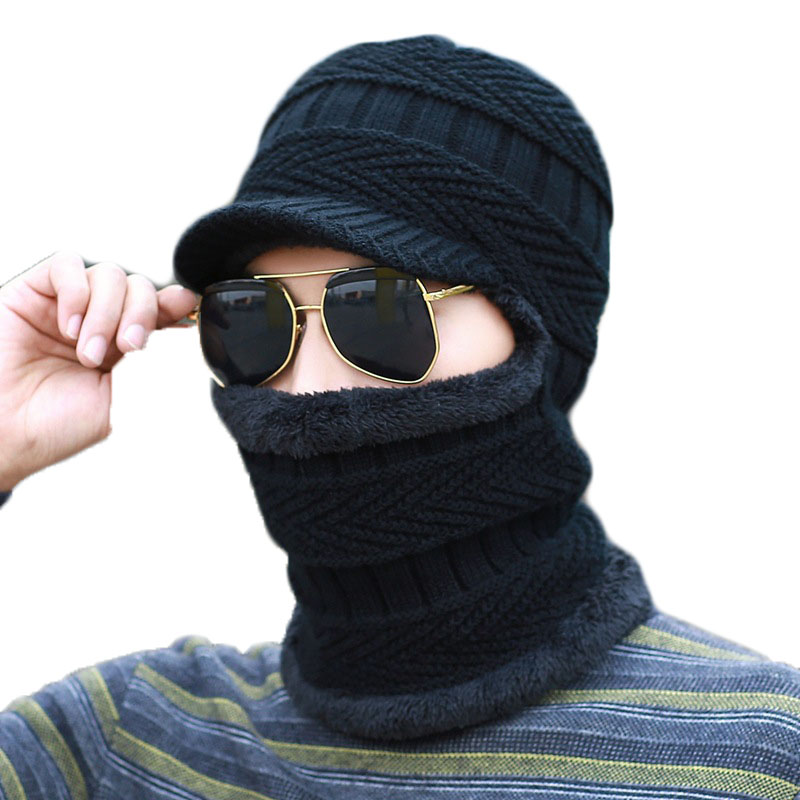 Fashion Women Men Knit Plush Thick Hat Winter Beanie Baggy Warm Wool Fleece Ski Camping Cap Neckerchief Scarves Accessories hot winter beanie knit crochet ski hat plicate baggy oversized slouch unisex cap