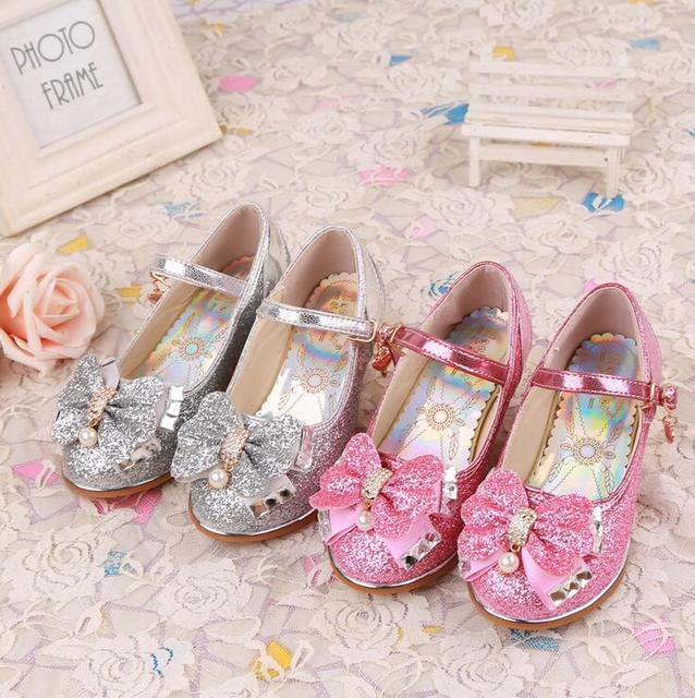 Top quality Children girl's  girl princess bling pear crystal  shoes single Leather Shoes fashion dance High-heeled shoes 27-37