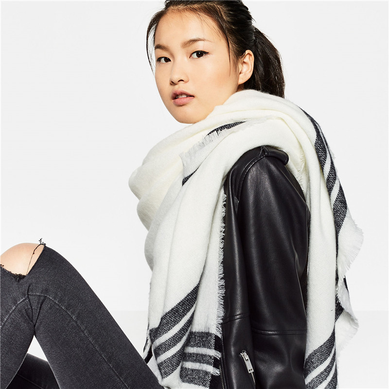 With The Big New Solid Three Stripes Thick Warm Winter Scarf Cashmere Scarves Lengthen Ms.