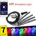 12 LED Bluetooth Телефон Управления Автомобилей Полосы Света Гибкая Атмосфера Лампа Ноги Android iOS APP Сигареты С RGB Контроллер