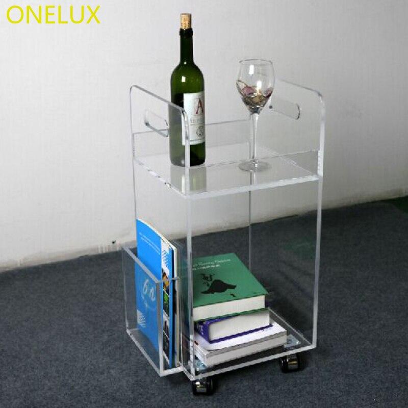 Home Use  Acrylic Rolling Tea Cart With Magazine Rack,Plexiglass Small Trolley On Wheels tieyi small tea table telephone desk newspaper and magazine rack