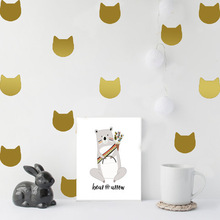 Cat Face Wall Stickers For Kids Rooms Cute Baby Nursery Room Bedroom Children Decals Home Art Mural