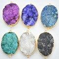 2016 hot! Natural Druzy ágata colgantes charms, piedra ágata conector, 42 x 30 mm, colores mezclados enviado al azar 6 unids envío gratis