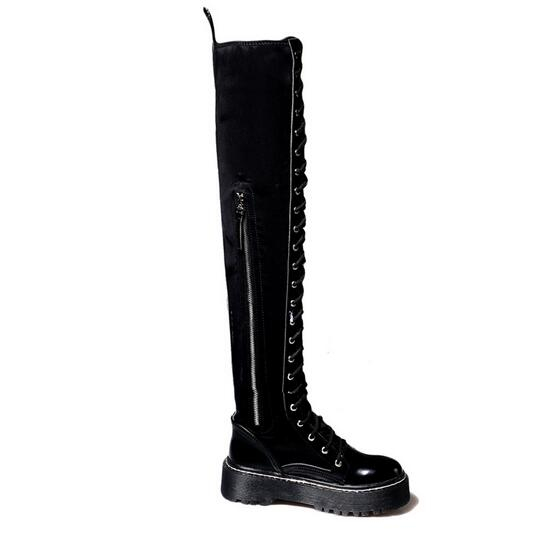 winter new high heeled knee boots female thick with side zipper stovepipe long tube size code elastic boots in Over the Knee Boots from Shoes