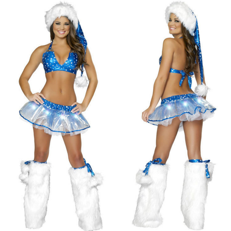 2018 new sexy blue christmas bikini high quality night club Pole dance show DS costumes new year party sexy christmas clothing