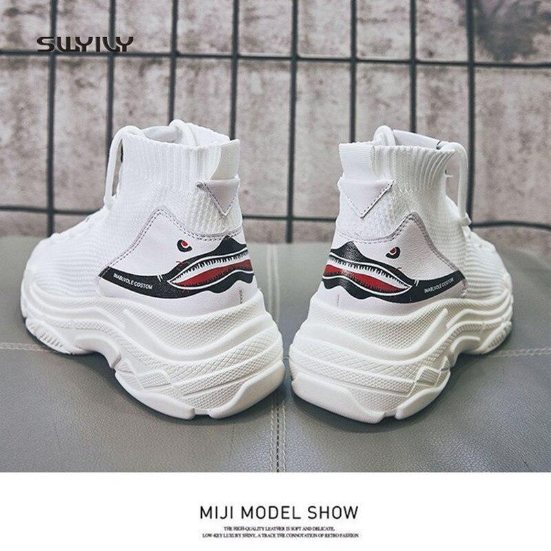 SWYIVY frauen Turnschuhe Plattform Weiße Schuhe High Top Leinwand Schuhe 2018 Frühling Socke Casual Schuhe Dicken Boden Keil Turnschuhe
