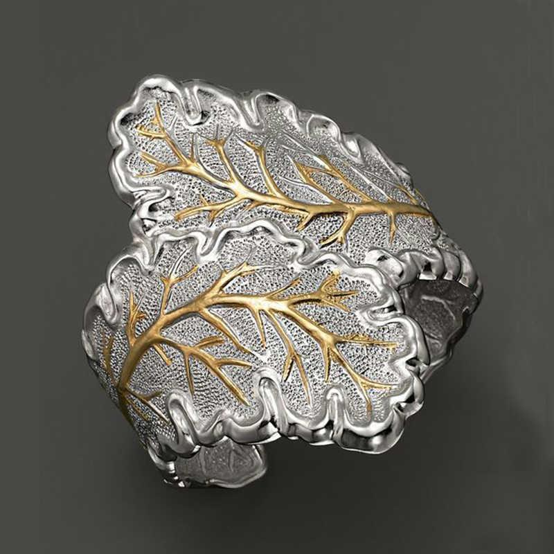 Bohemian Leaf เปิดแหวนเงิน Micro Inlay ปัจจุบันนิ้วมือแหวนแฟชั่นเครื่องประดับ Cuff ค็อกเทล Bague C5M110