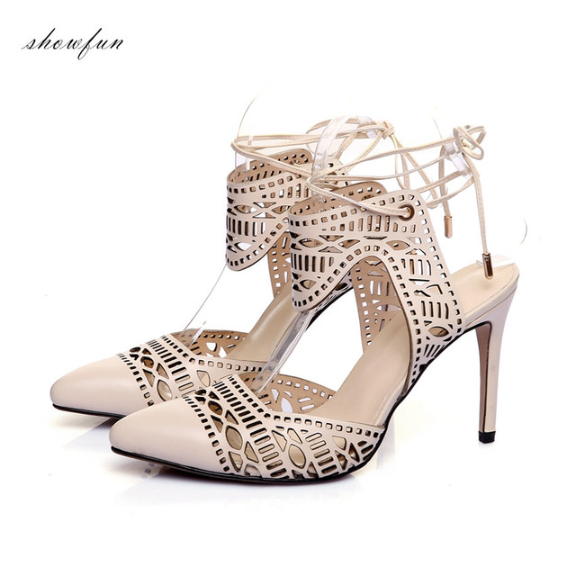 d89bbac53a3 US $42.64 18% OFF|Women's Real Leather Sexy Thin High Heel Pointed Toe Lace  up Sandals Brand Designer Cut out Summer Sandalias Evening Shoes Women-in  ...