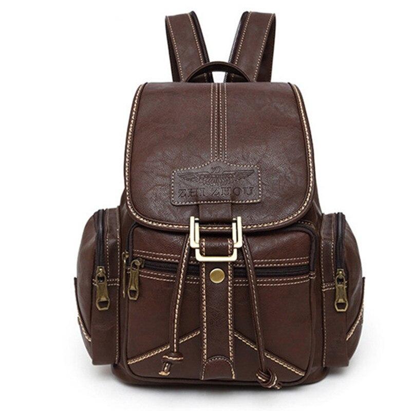 Étanche Souple PU sac à dos en cuir Femmes Cordon Bagpack étudiant à l'université sac à dos pour l'école Vintage Femelle Rétro Bookbag