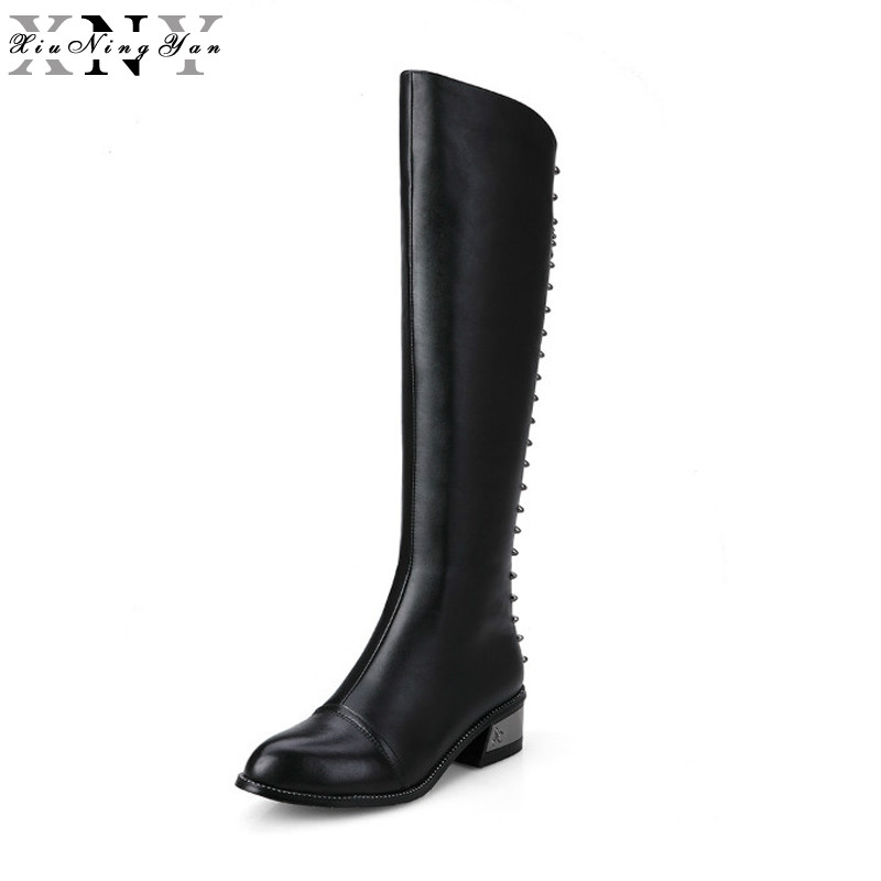 XiuNingYan 100% Full Genuine Leather Front with Zip Women Knee High Boots Square Heels Winter Fashion Boots Black White 33-40 цена