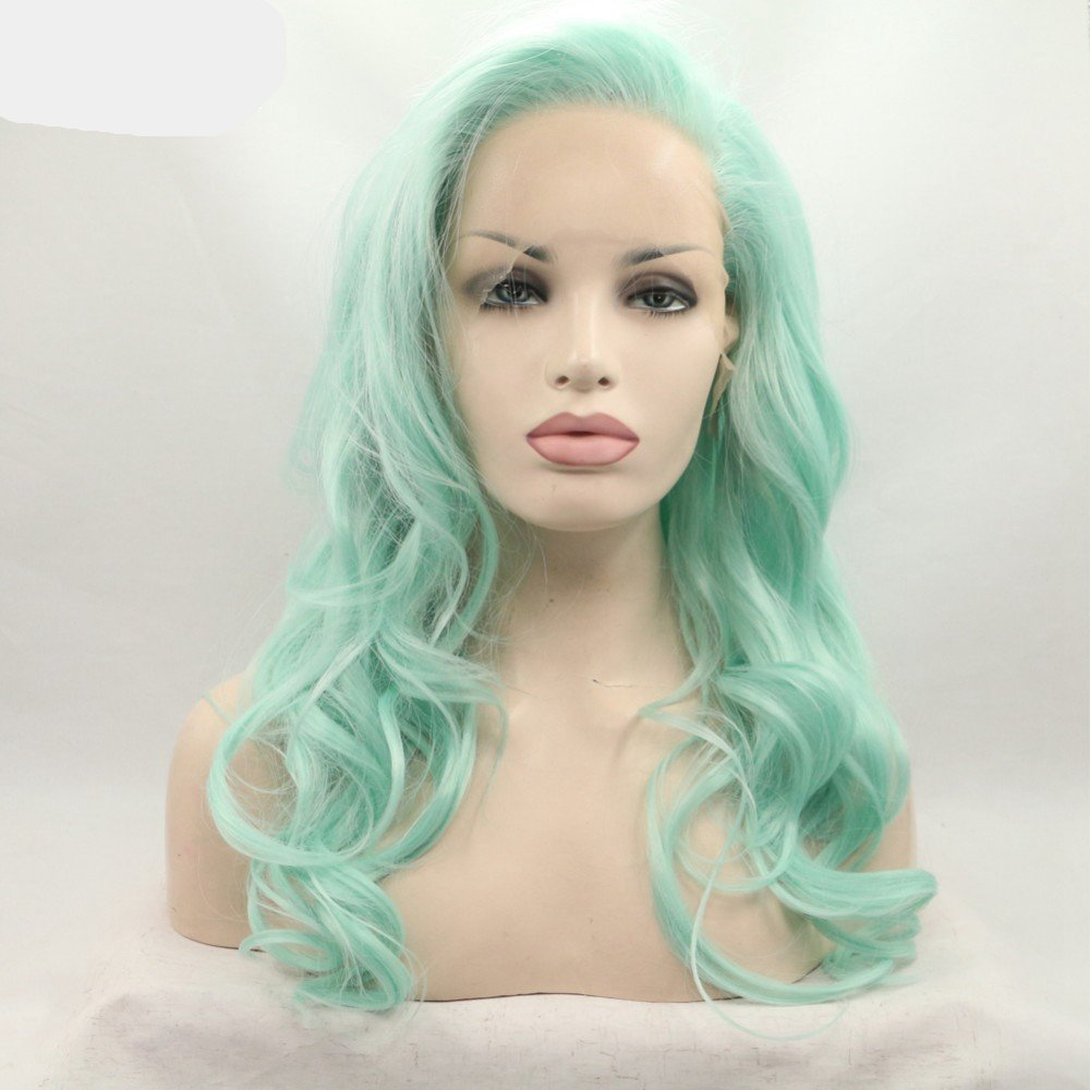 Fantasy Beauty Synthetic Wigs Long Wave Green Wig Heat Resistant Fiber Mint Green Lace Front Wigs
