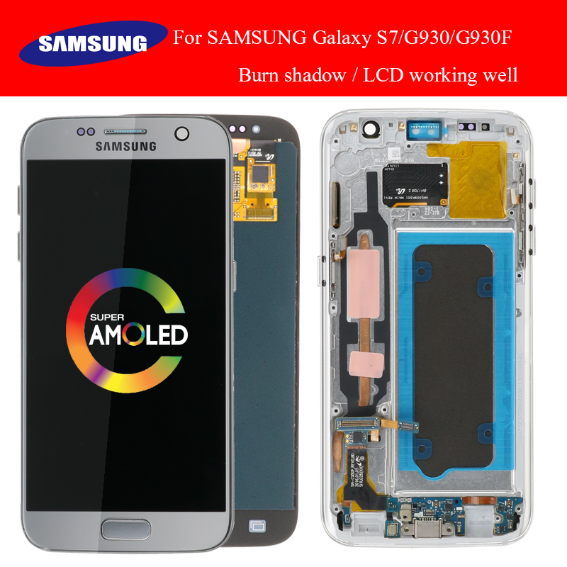 SUPER AMOLED 5 1 with Burn Shadow LCD with frame for SAMSUNG Galaxy S7 G930 G930F
