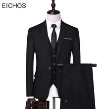 New Mens Suits Dress Elegant Designs Casual Business 3 pieces Suit Men Wedding Party Jacket Vest & Pants Slim Tuxedo For Man