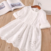 Hurave 2018 New Baby Girl Clothes Children O Neck Full Sleeve Dresses Kids Clothes Openwork Solid