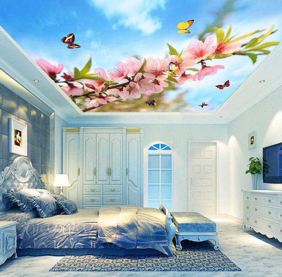 3d Flower Mural Butterfly Cloud 3d Ceiling Wallpaper