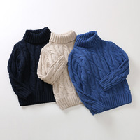 3-15 y固体男の子タートルネックセーター用子供ニットプルオーバー生き抜くドレープ男の子セーター暖かいニット子供服