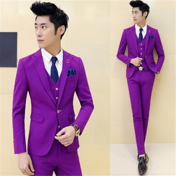 Purple One Button Peak Lapel High quality Groom Tuxedos Bridegroom Suits Groomsman Blazer For Man (Jacket+Pant+Vest+Tie)