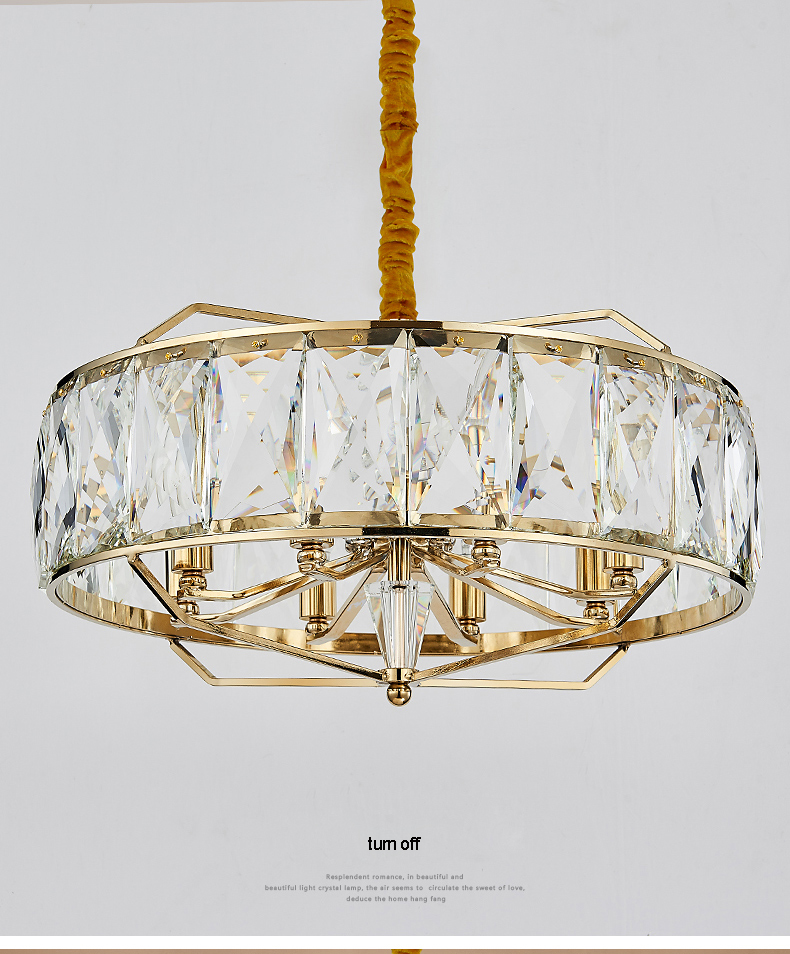 American Modern Crystal Chandelier LED Crystal Chandeliers Lighting Fixture Shining Round Hotel Dining Room Living Room Lamps in Chandeliers from Lights Lighting