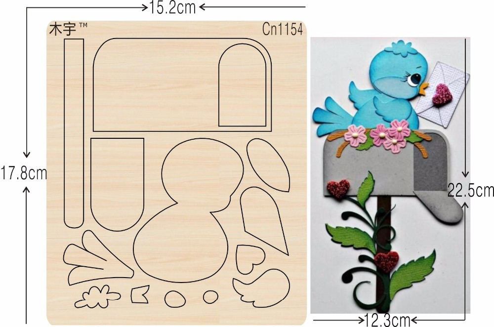 Birds and mailboxes new wooden mould cutting dies for scrapbooking Thickness 15 8mm