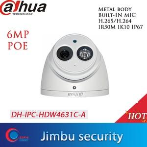 Image 1 - Dahua POE H.265 6MP Dome IP Camera IPC HDW4631C A  Built in MIC IR50m IP67 IK10 2.8mm 3.6mm 6mm