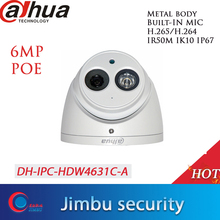 Dahua Poe H.265 6MP Dome Ip Camera IPC HDW4631C A Ingebouwde Microfoon IR50m IP67 IK10 2.8Mm 3.6Mm 6mm