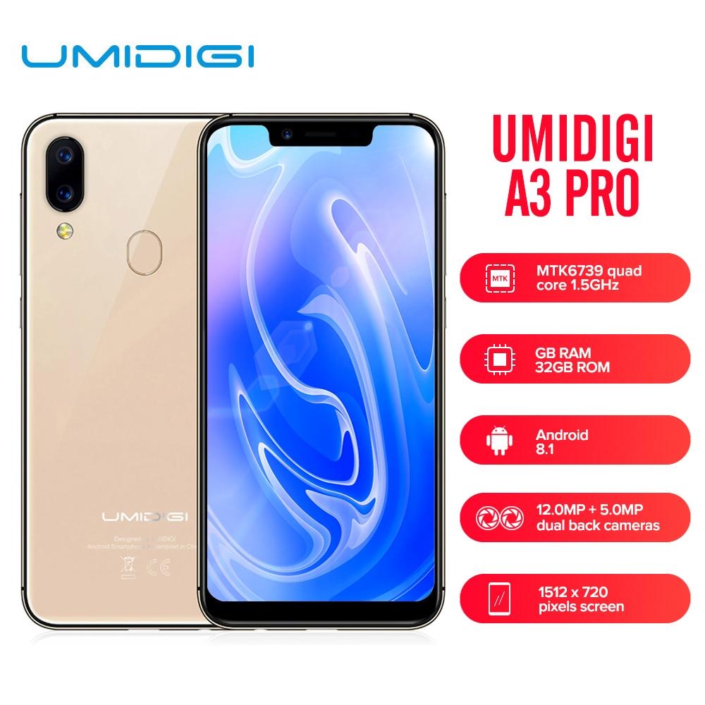 UMIDIGI A3 Pro 4G Smartphone MTK6739 5.7 Inch 1512*720 Quad Core 1.5GHz 3GB RAM 32GB 16GB Android 8.1 Dual SIM Mobile Cellphone