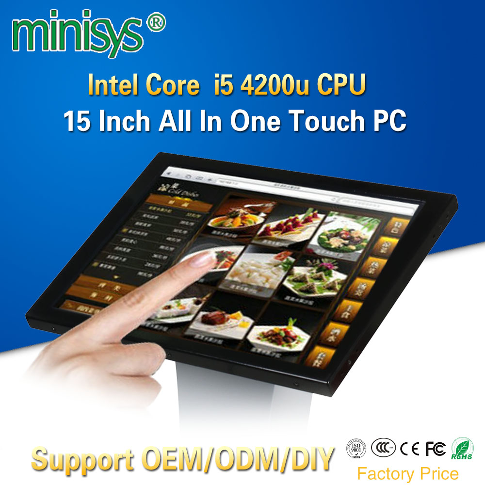 Minisys Factory Core I5 4200u All In One Computer With 15'' LCD Resistive Touchscreen Panel PC Support LVDS VGA HDMI Display