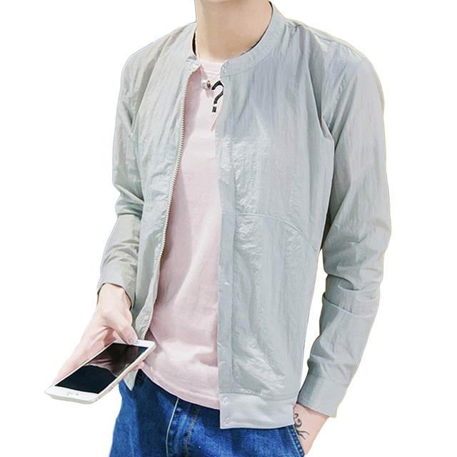 0da26e09d M-5XL Solid Thin Jackets Summer Stand Collar Zipper Up Slim Bomber Jacket  Mens Long Sleeve Fashion Sunscreen Coats Brand Outwear