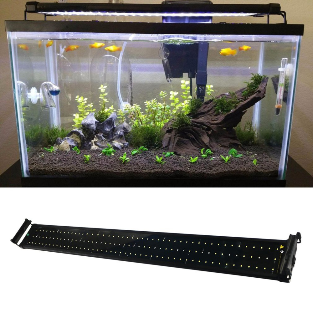 150 White and 34 Blue LEDs Aquarium Light Super Bright Fish Tank Light Lamp with Extendable Brackets Fits for Aquarium рыбы серия