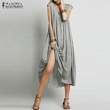 Women Solid Long Maxi Dress ZANZEA 2019 Casual Loose Round Neck Short Sleeve Long Elegant Robe Bodycon Dresses Vestido Plus Size plus round neck bodycon dress
