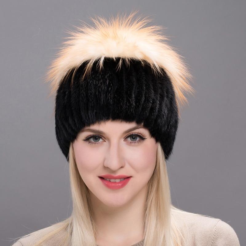 Réel tricoté eau léopard renard fourrure chapeau femmes Skullies & bonnets hiver vison fourrure chapeau femme russie casquette femmes fourrure capuche DHY17 07 - 1