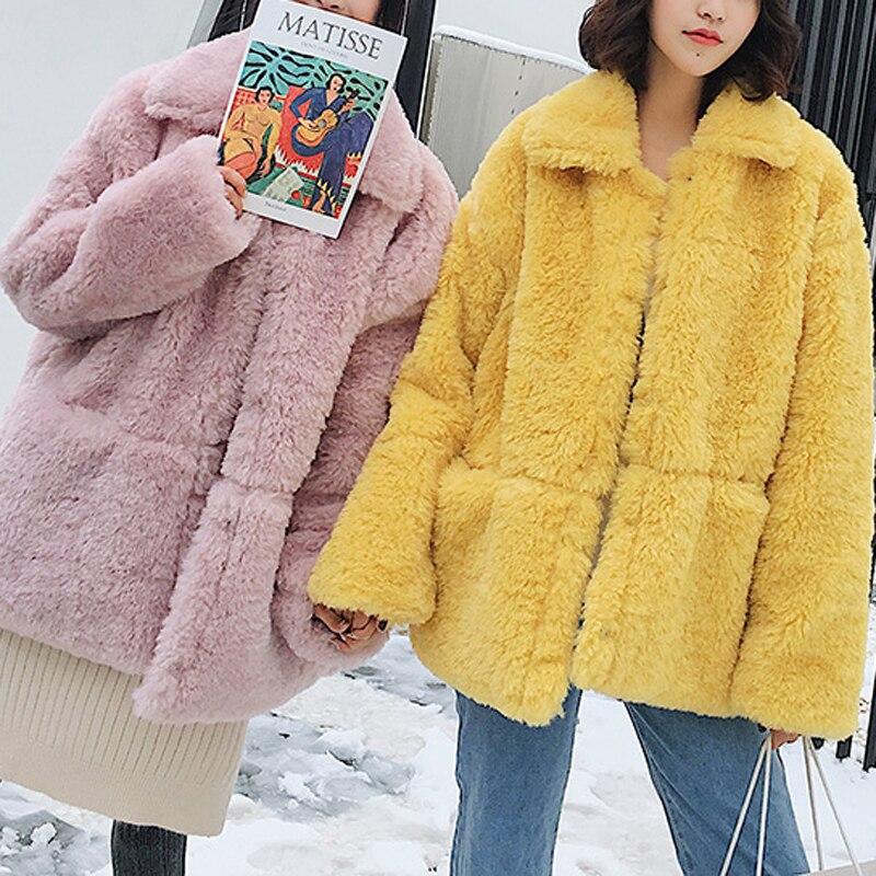 Survêtement Moelleux En Jaune Femmes Coat yellow Manteau Fourrure Coat Hiver Femelle Coat Confortable Veste Lumineux Casual Pink D'agneau Lamb Épais Peluche Fur beige Mode Fausse De wZEOnq