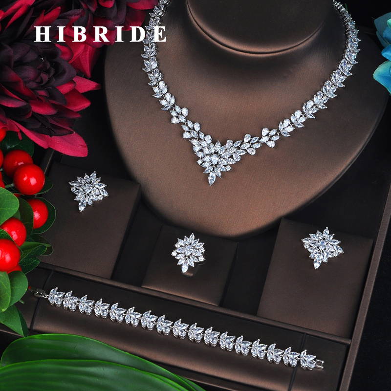 HIBRIDE New Luxury Marquise Cut Bridal Jewelry Set Wedding Accessories 4 pcs Full Cubic Zircon parure