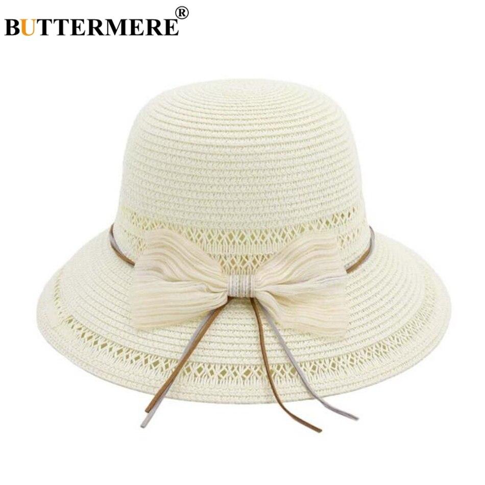 BUTTERMERE White Sun Hat Women Bowknot Ladies Fedora Designer Straw Brand 2019 Spring Summer Female Beach