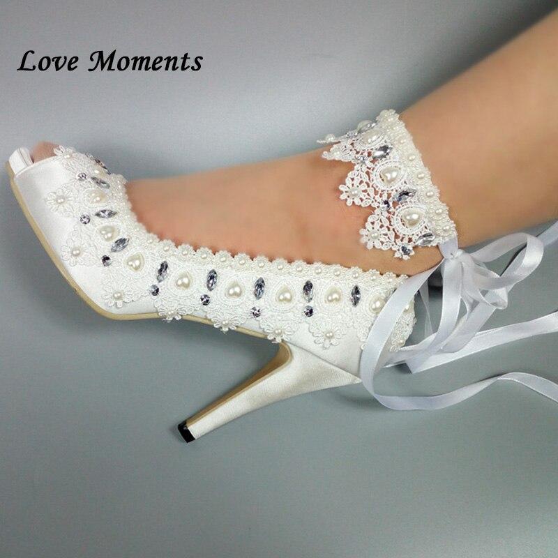 De 11cm Heel D'amour Femme Cheville Hauts À Heel Plate Dames Pompes 5cm Satin Talons Fleur Heel Bout Mariage Dentelle Sangle forme 8cm Ouvert Chaussures up Blanc Moments Yd4zBw4