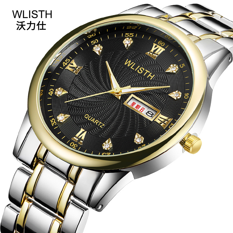 Fashion Top Wlisth Brand Trend Business Couple Watch Butterfly Button Calendar Steel Belt Waterproof Men's Creative Wholesale