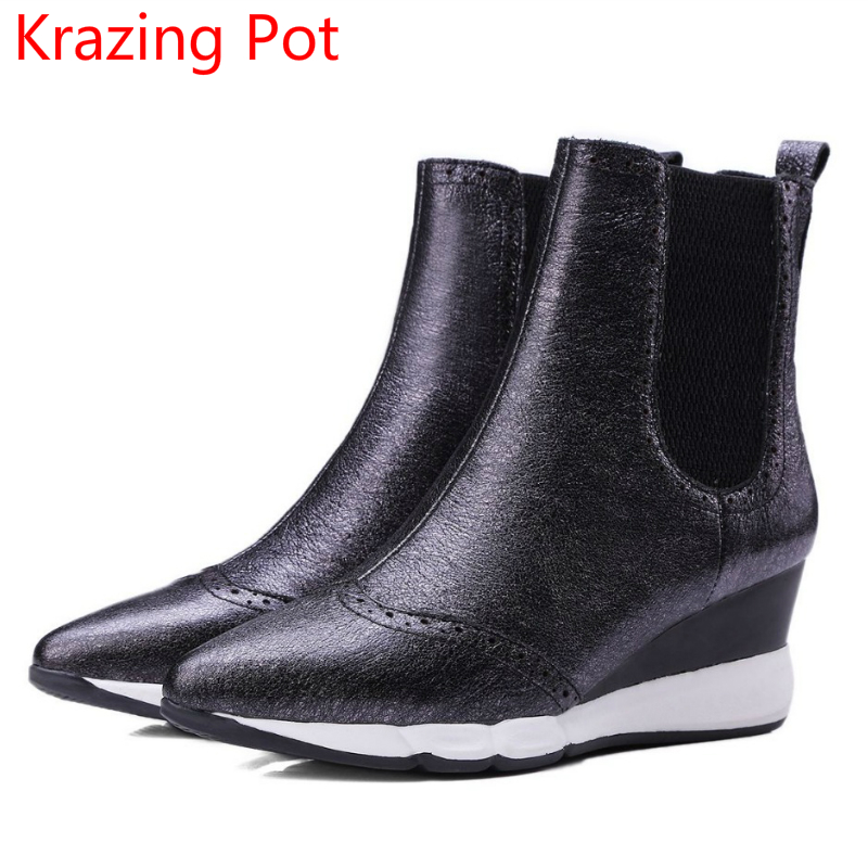 2018 Fashion Pointed Toe Genuine Leather Handmade Casual Slip on Wedge Winter Boots Casual Nightclub Women Mid-Calf Boots L26 nayiduyun women genuine leather wedge high heel pumps platform creepers round toe slip on casual shoes boots wedge sneakers