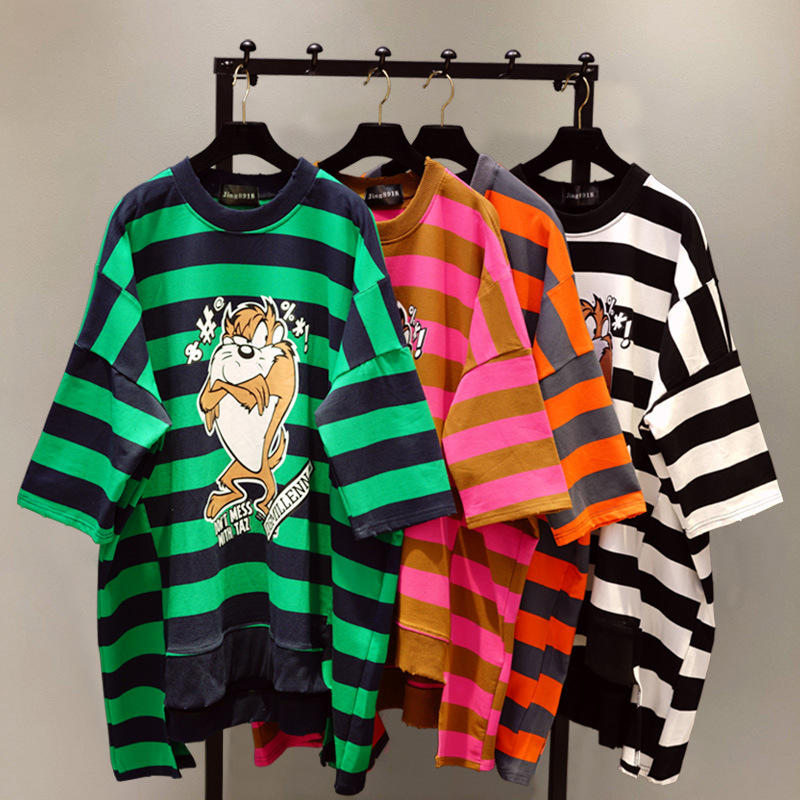 O Neck Loose Female Pullovers Tops Spring Summer New Cartoon Printing Striped Short Sleeve T-shirts Large Size Women's Tshirts