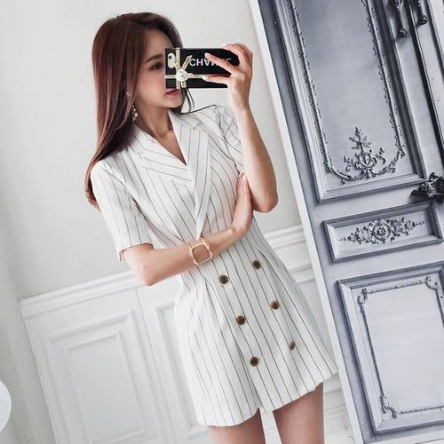Для женщин деловой Блейзер платья для работы летняя элегантная двубортная модель черный, белый цвет в полоску Зубчатый воротник мини-плать...