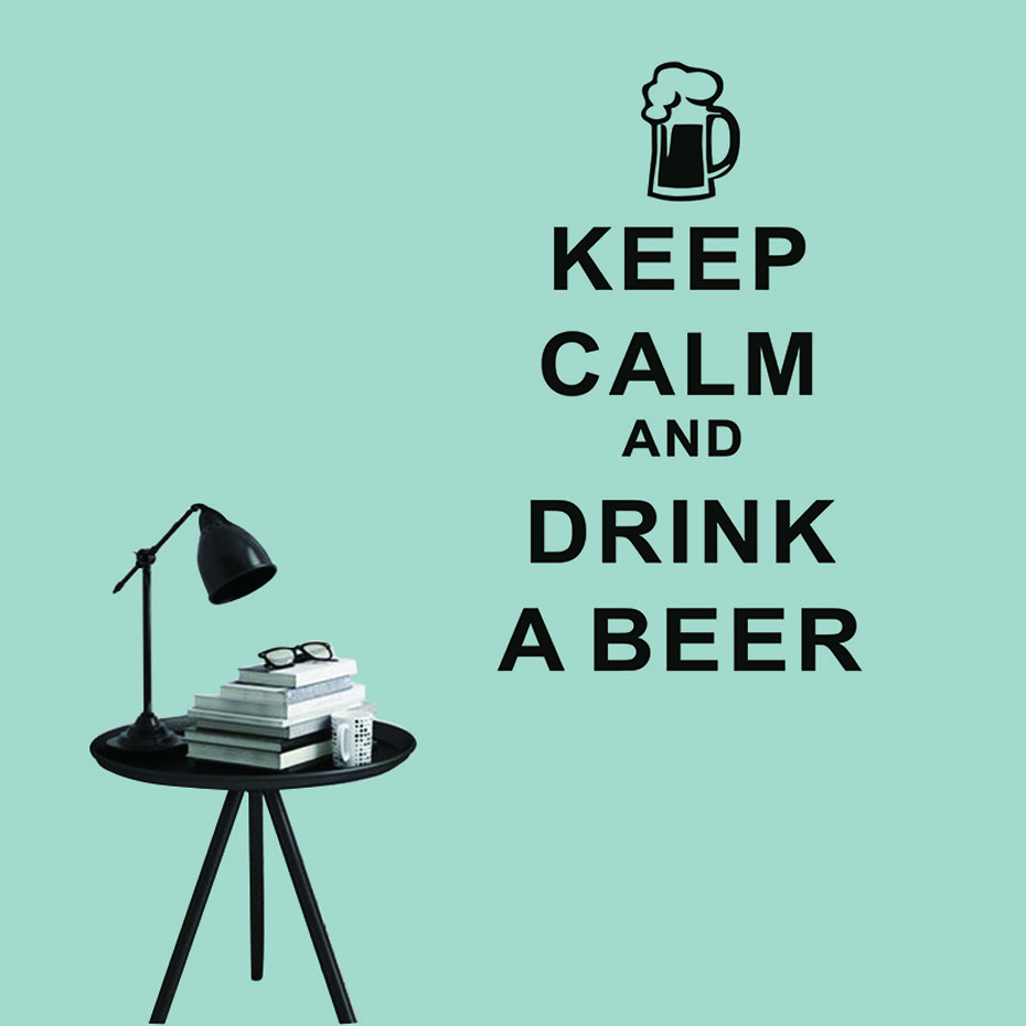 Keep Calm And Drink A Beer Characters Wall Stickers Home Decor Living Room Bedroom Decor Vinyl Waterproof Decals Home Decoration